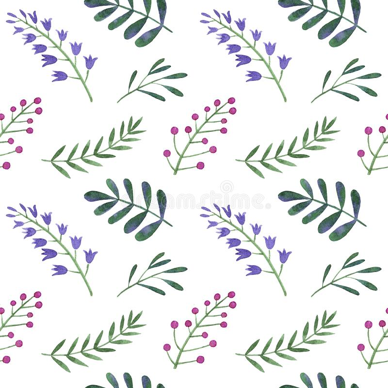 Free Watercolor Pattern Of Flowers, Berries Stock Image - 111178461