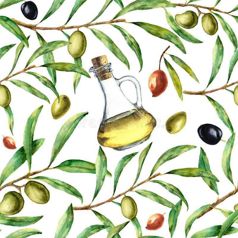 Watercolor pattern with olives. Hand painted seamless ornament with olive berry, olive oil and tree branches with leave vector illustration