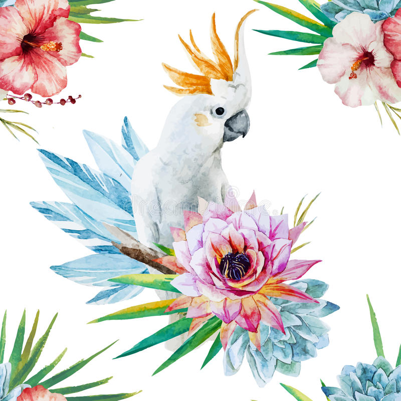 Watercolor pattern with parrot and flowers vector illustration