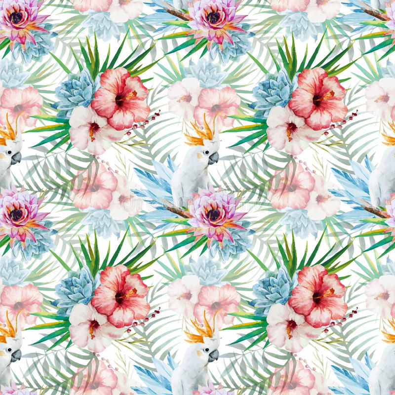 Watercolor pattern with parrot and flowers royalty free illustration