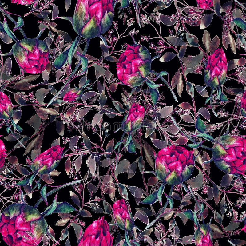 Pattern with peonies. Watercolor pattern with peonies, watercolor flowers stock image