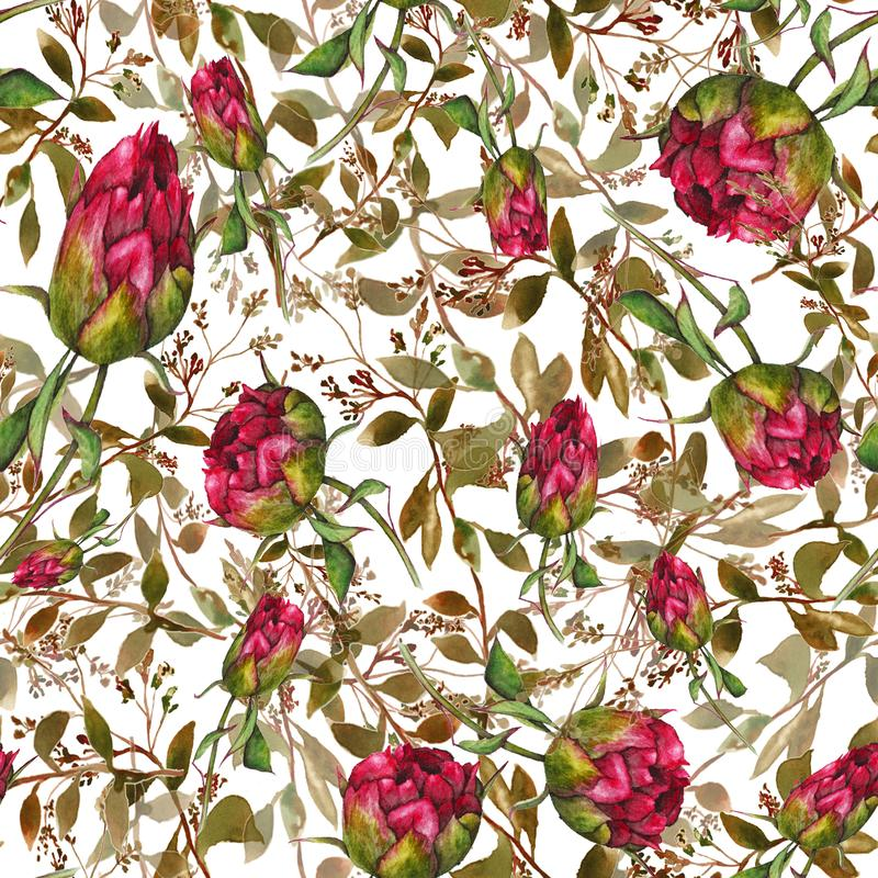 Pattern with peonies stock illustration