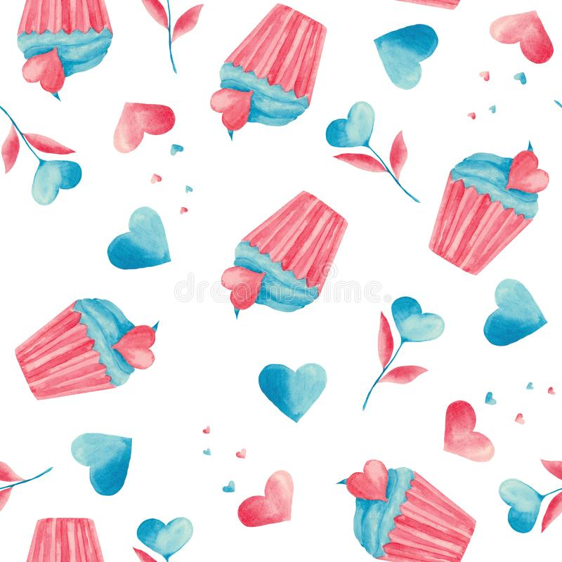 Watercolor pattern with pink and blue hearts, lock, key, cupcake, leaves, a glass of coffee, a jar. Ideal for prints and postcards stock illustration