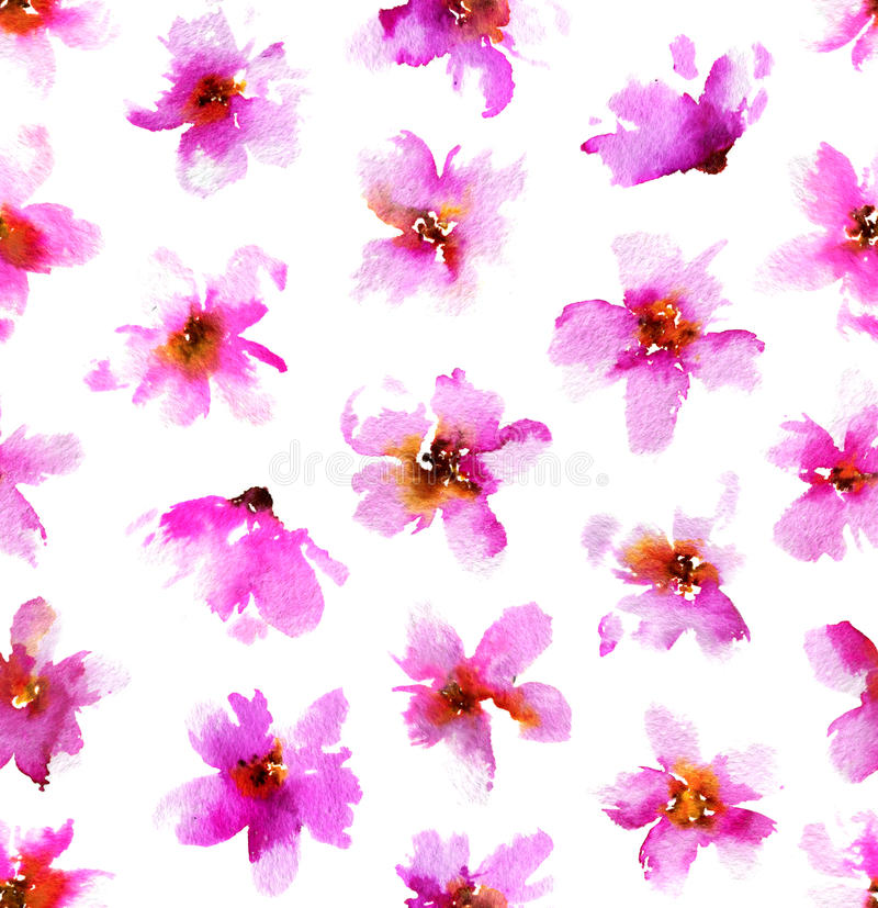 Watercolor pattern with pink flowers. Seamless hand drawn floral background. stock images