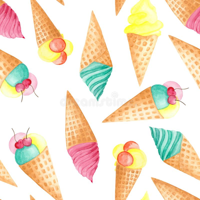Watercolor pattern of ice cream. Watercolor pattern of pink, turquoise, orange ice cream and fruit ice stock illustration