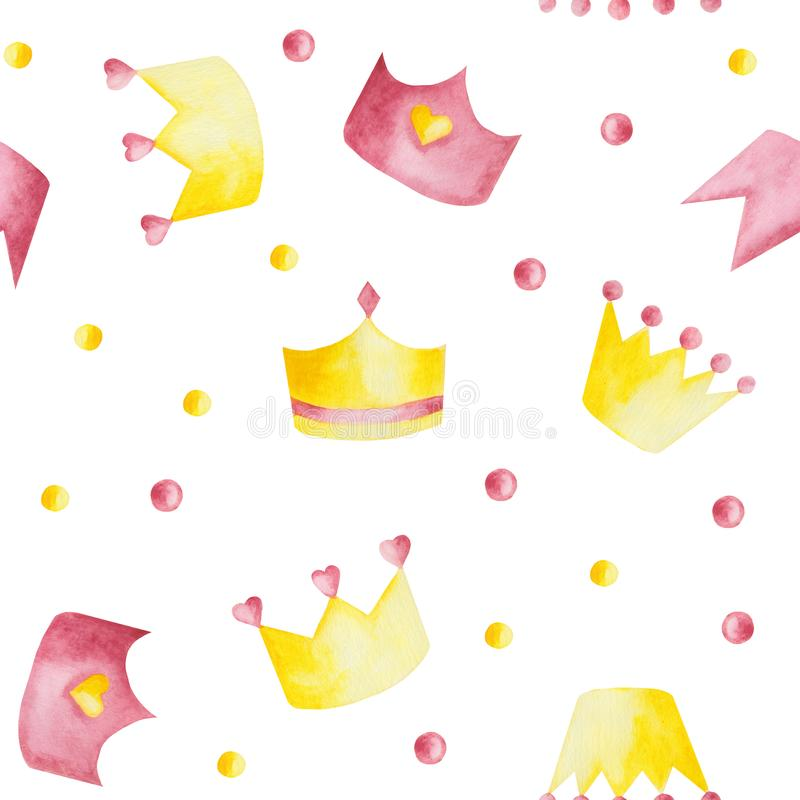 Watercolor pattern with pink and yellow crowns on white background. Watercolor pattern with pink and yellow crowns on a white background. Ideal for cards and stock illustration
