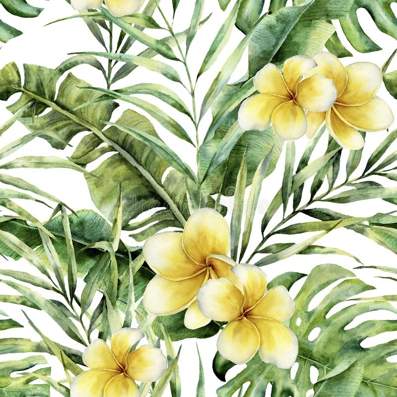 Watercolor pattern with plumeria, palm tree leaves. Hand painted exotic greenery branch. Botanical illustration. For stock illustration