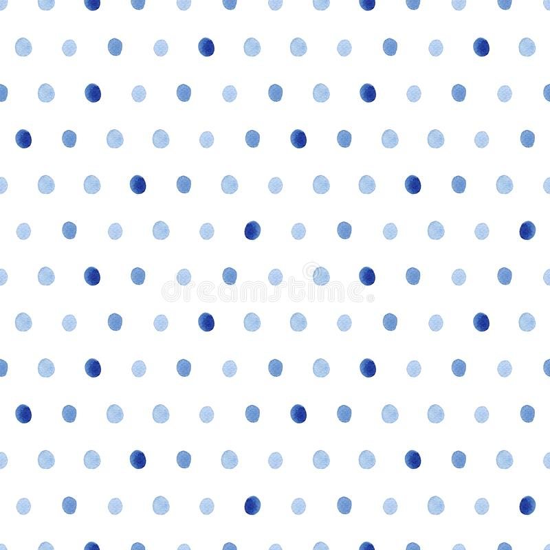 Watercolor pattern with polka dots. Watercolor seamless pattern with blue polka dots. Abstract modern background, illustration. Template for textile, wallpaper royalty free illustration