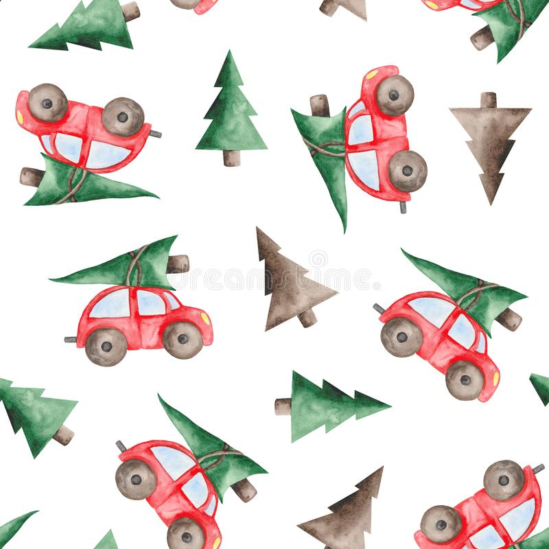 Watercolor christmas pattern with red car, fir-trees, balls and sweets. Watercolor pattern with red christmas machine, fir-tree, balls and sweets on a white vector illustration