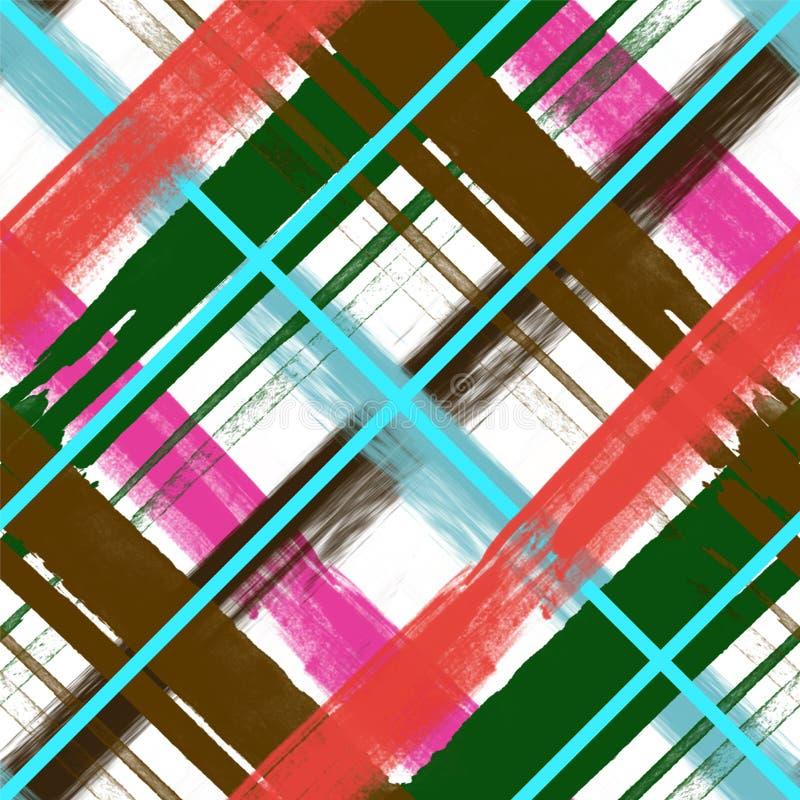 Watercolor pattern rose blue , brush stripe plaid. Watercolor pattern rose blue , brush stripe royalty free illustration