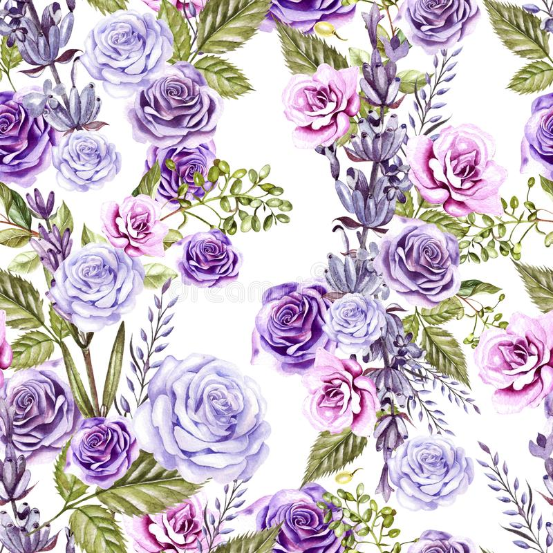Watercolor pattern with roses flowers and lavender. Hand painting. Watercolor. Seamless pattern for fabric, paper and other stock illustration