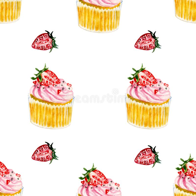 Watercolor pattern with strawberry and pink cupcakes with strawberry. Hand drawn watercolor pink strawberry cupcake repeating pattern, colorful seamless royalty free stock images