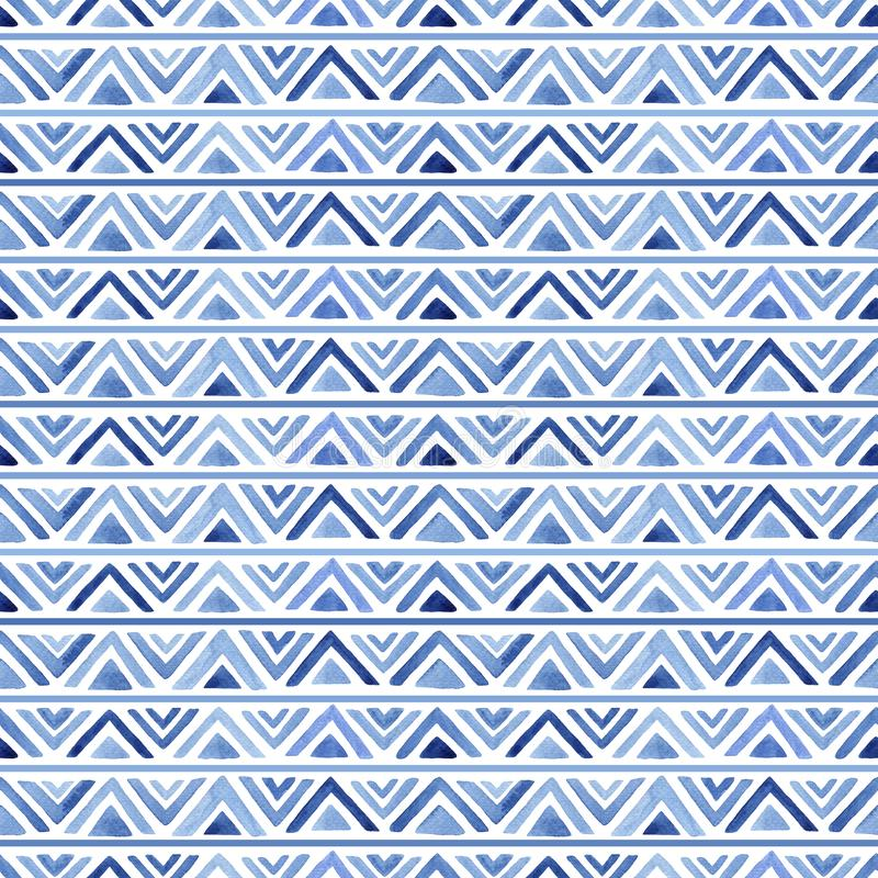 Watercolor pattern with blue triangles. Watercolor seamless pattern with blue triangles and stripes. Abstract modern background, illustration. Template for stock illustration