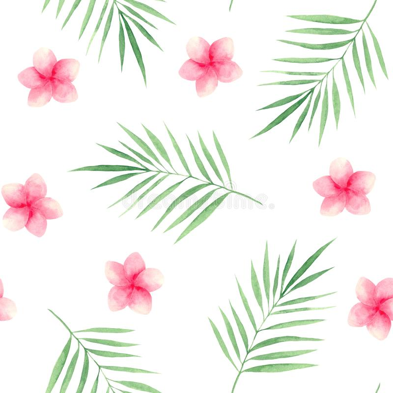 Watercolor pattern with tropical leaves and flowers. Monstera leaves and palm trees. Frames of tropical leaves and pink flowers stock illustration