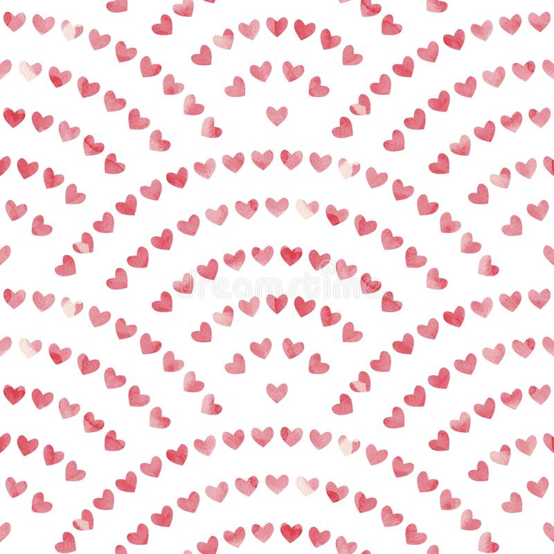 Watercolor pattern for Valentine`s Day. Pink hearts painted with paint on paper. Vector illustration stock illustration