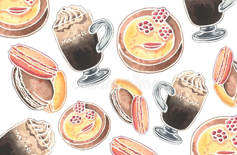 Watercolor pattern of Viennese coffee glasses and desserts. Hand drawn watercolor illustration. Beautiful pattern for prints, design or cards. Watercolor stock illustration