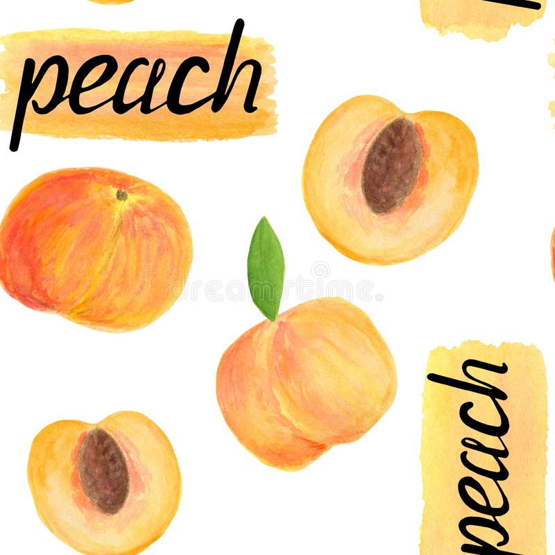 Watercolor peach fruit seamless pattern with calligraphy lettering royalty free stock photos