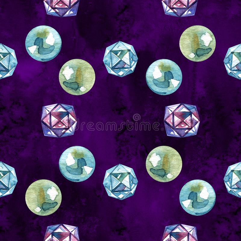 Watercolor pearl beads pattern. diamond luxury jewelry. riches seamless background.  royalty free stock images