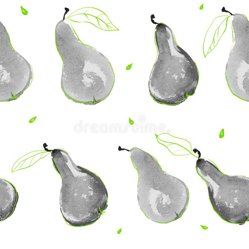 Watercolor pears seamless hand drawn pattern with seeds and leaves stock illustration