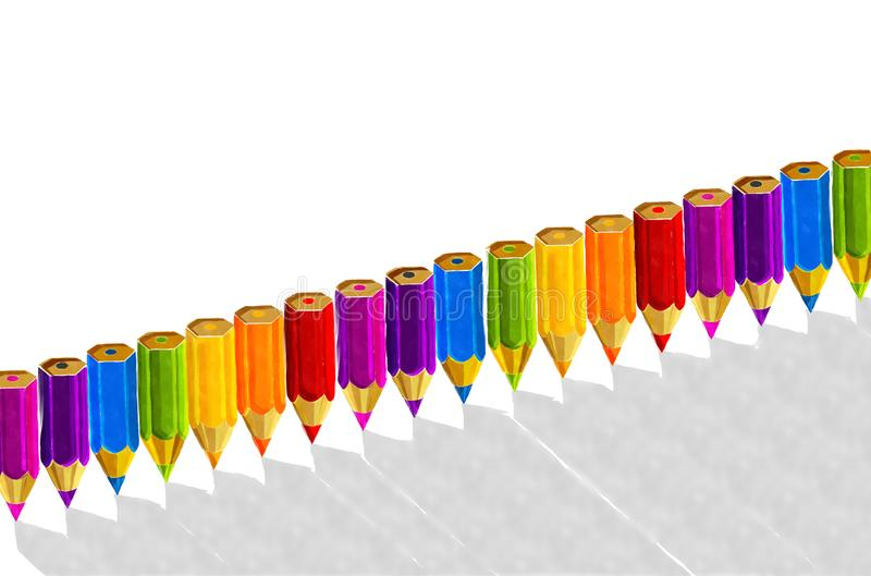 Watercolor pencils background. Watercolor pencils in rainbow colors, in a row over white background stock illustration