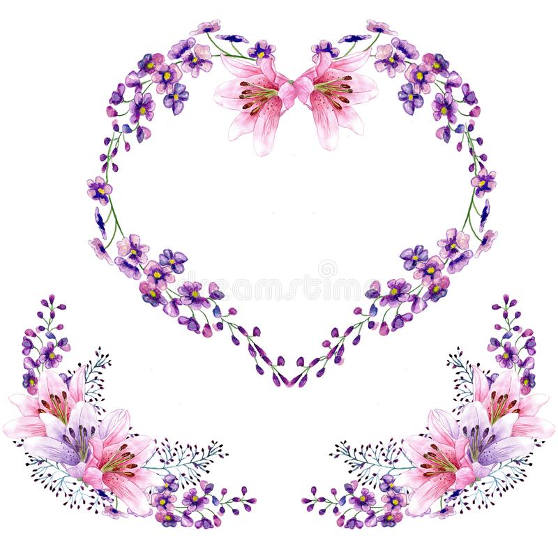 Watercolor floral heart shape wreath and bouquets stock photos