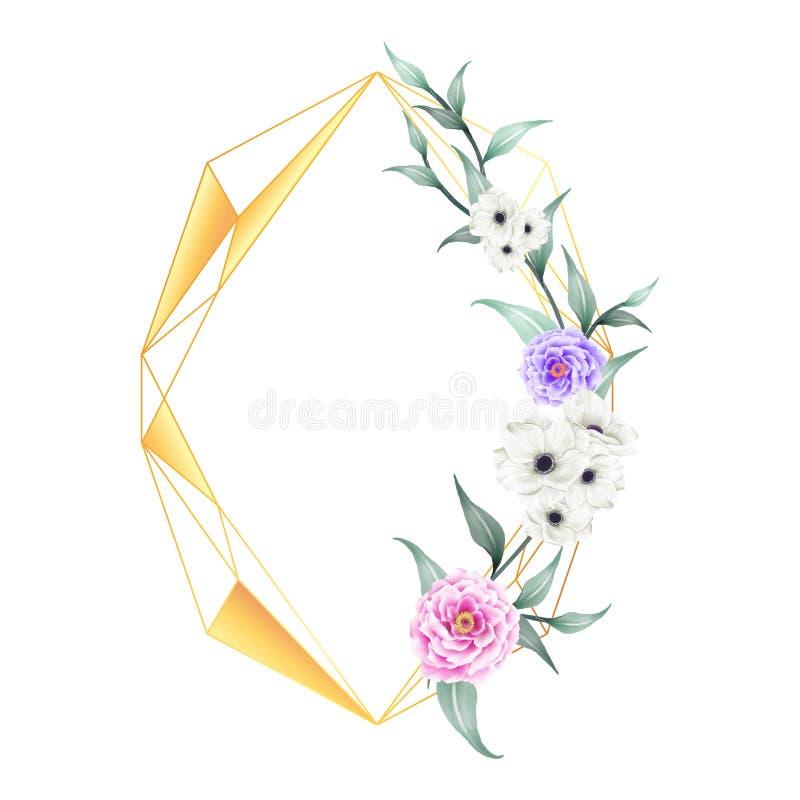 Watercolor Peony και λουλούδια Anemone με το χρυσό γεωμετρικό πλαίσιο Το λουλούδι και οι κλάδοι σχεδίων χεριών σώζουν την ημερομη διανυσματική απεικόνιση