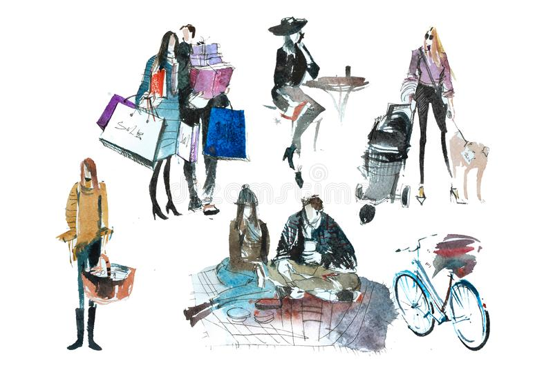 Watercolor people with shopping bags. Fashion, sale, autumn stock illustration