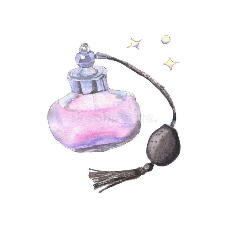 Watercolor pink perfume royalty free stock photos