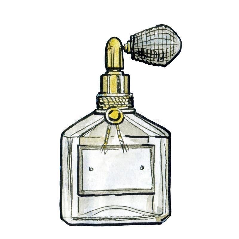 Watercolor perfume jar, fashion illustration stock photo