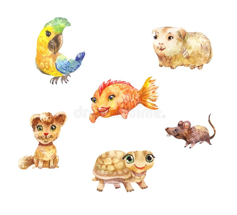 Watercolor pets, little cute illustrations suitable for children. Watercolor pets isolated on white background. Set of funny animals royalty free illustration