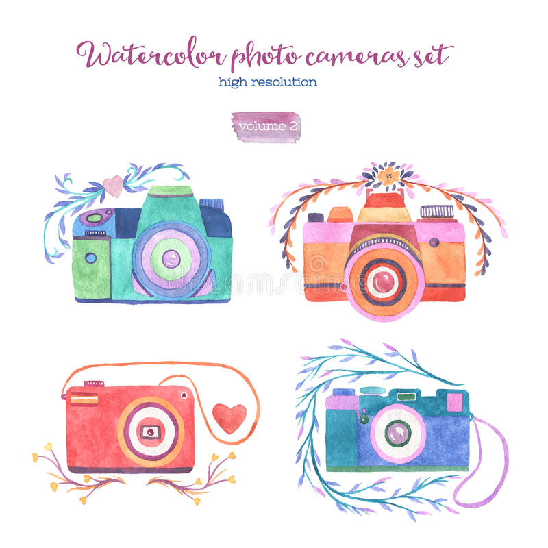 Watercolor photo cameras set stock illustration