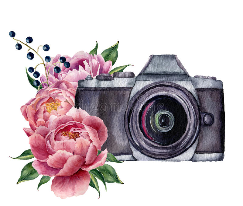 Watercolor photo label with peony flowers. Hand drawn photo camera with peonies, berries and leaves isolated on white vector illustration
