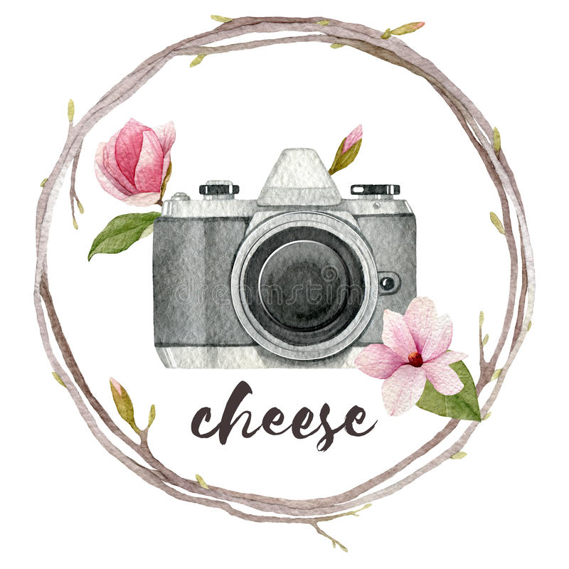 Watercolor photographer illustration with vintage photo camera,wreath of branches and magnolia flowers. Hand drawn spring logo iso vector illustration