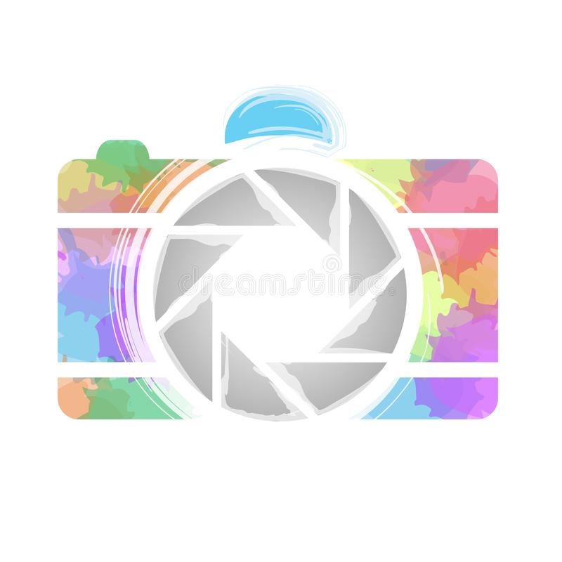Watercolor Photography camera- Rainbow colored photography lover. Icon stock illustration