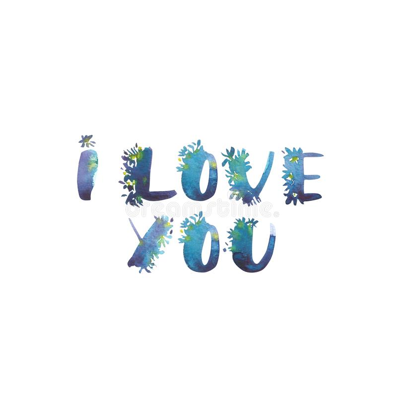 Watercolor phrase - I Love you. Exclusive Custom Characters. Hand Lettering and Typographic art for Designs: Logo, for vector illustration