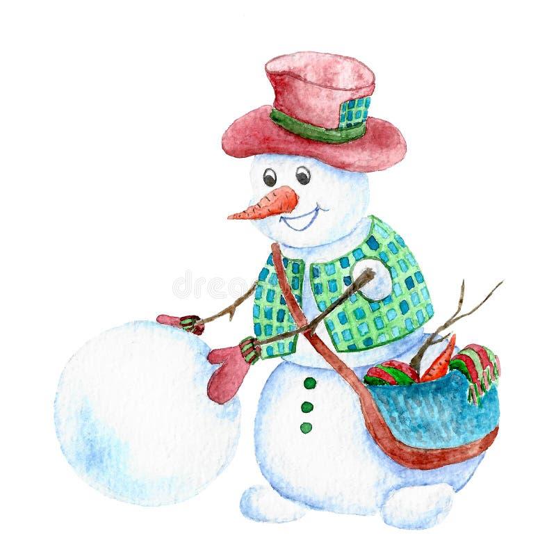 Snowman sculpts friend stock illustration