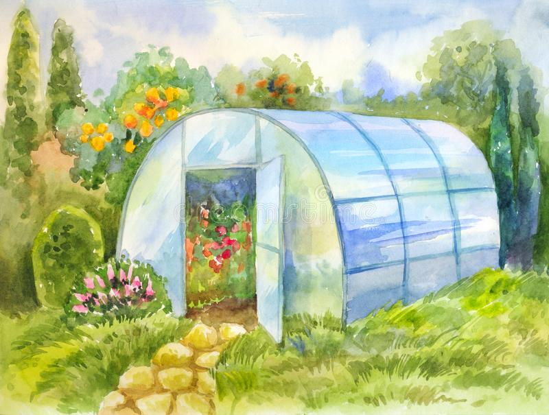 Watercolor picture with greenhouse in the garden. Hand-drawn illustration for poster, postcard or vintage summer wallpaper vector illustration