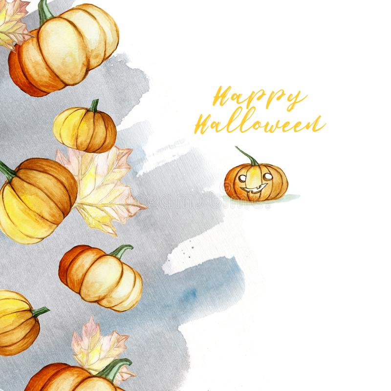 Watercolor picture in a Halloween theme frame of pumpkins, leaves and a watercolor gray background with an inscription, autumn de royalty free illustration