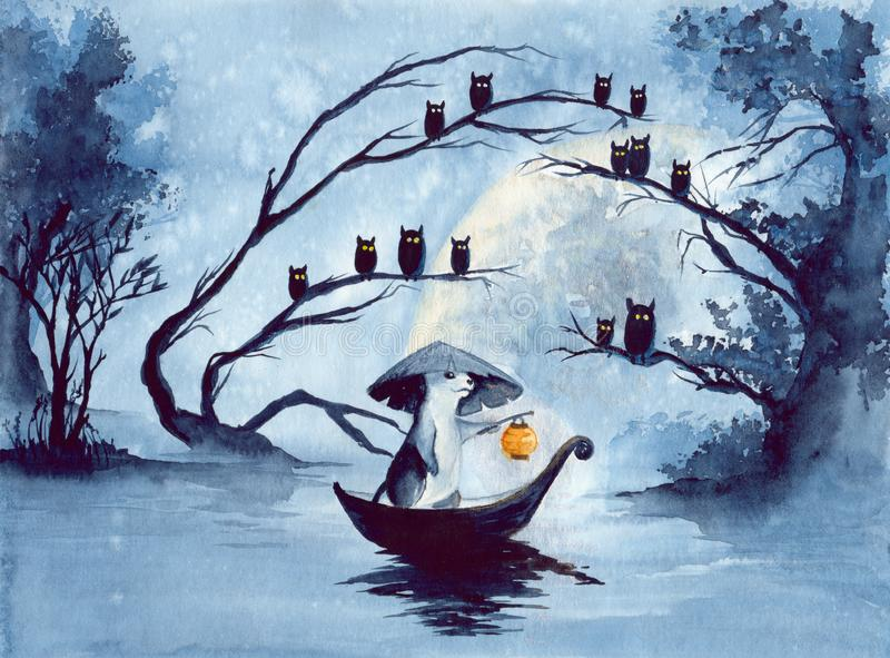 Watercolor mouse in a boat with owls royalty free illustration