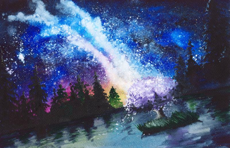 Watercolor Milky Way royalty free illustration