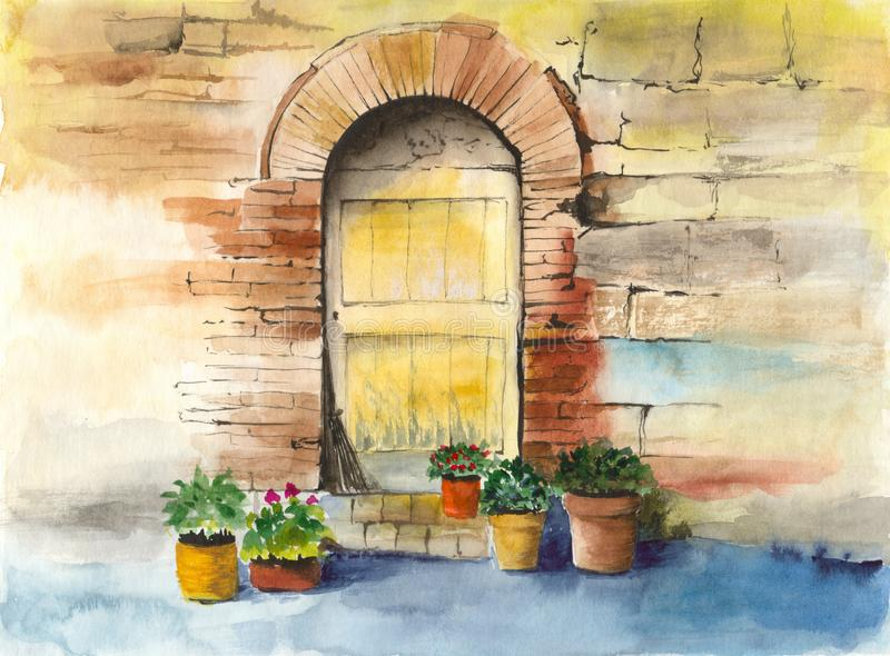 Watercolor old vintage door, brick wall and some colorful home plants. Watercolor picture of an old vintage door, brick wall and some colorful home plants in royalty free illustration