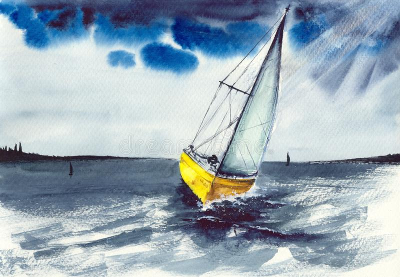 Watercolor sailing boat in the storm royalty free illustration