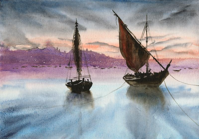 Watercolor fishing boats on the sunset royalty free illustration