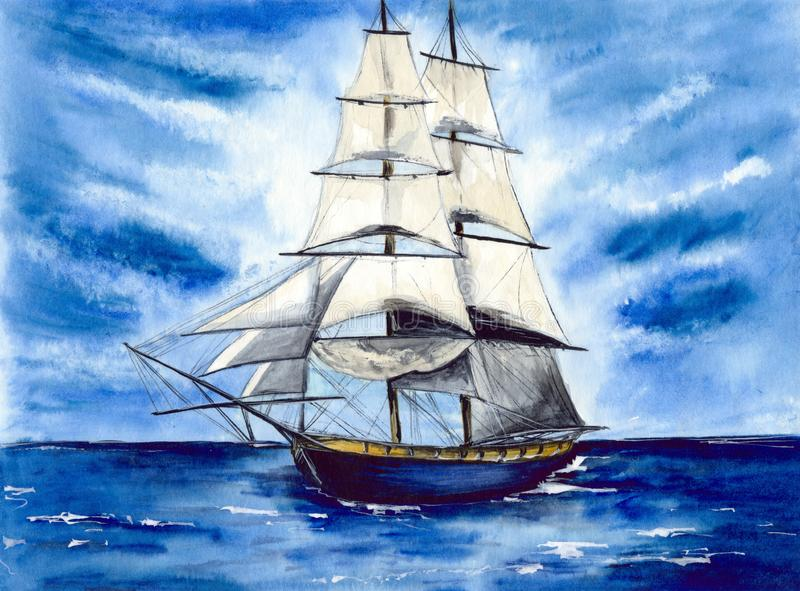 Watercolor tall ship with white sails in the ocean stock illustration