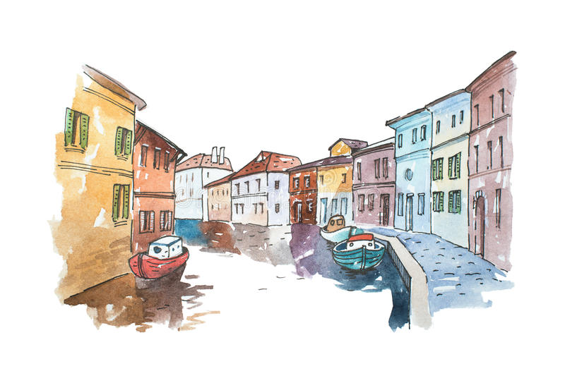Watercolor picture of typical scenery Venice with boats parked next to buildings in a water canal, Italy. royalty free illustration