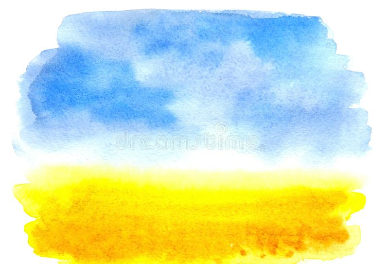 Watercolor picture wheat field with the sky. Watercolor rural landscape. stock illustration