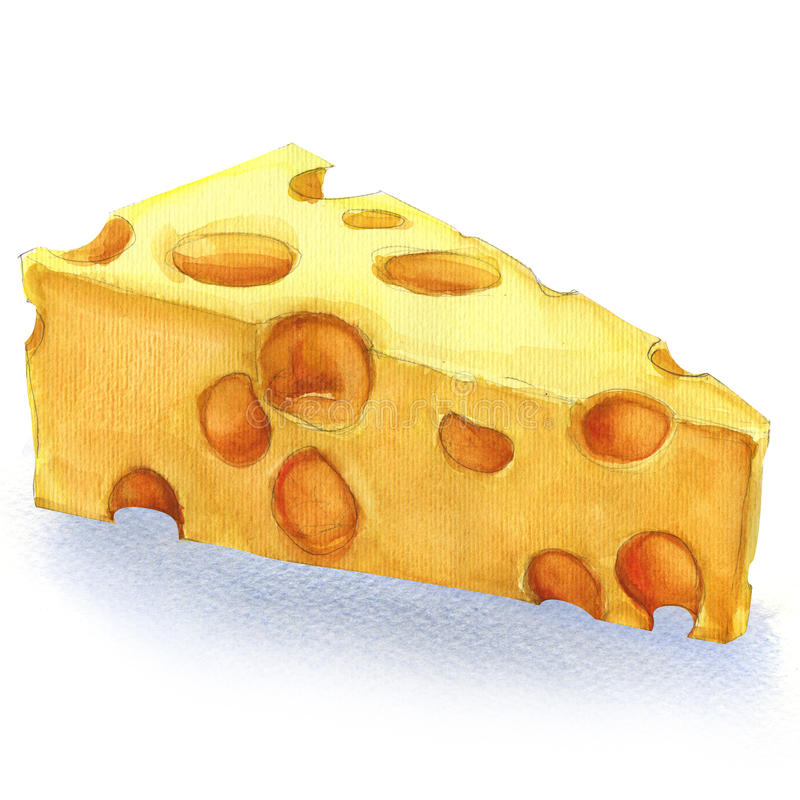 Watercolor piece of cheese isolated vector illustration