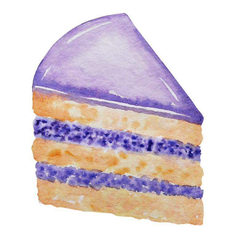 Watercolor piece of layered cake on white background. Hand drawn cake slice isolated illustration. Sweet dessert with stock illustration