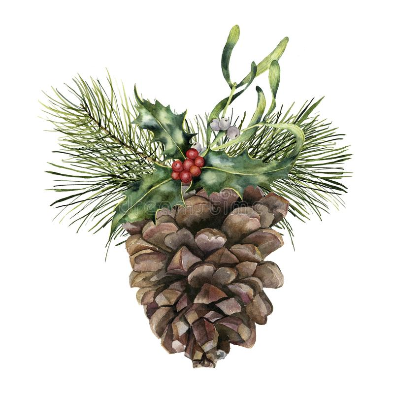 Watercolor pine cone with Christmas decor. Hand painted pine cone with christmas tree branch, holly and mistletoe. Isolated on white background. Botanical clip stock illustration
