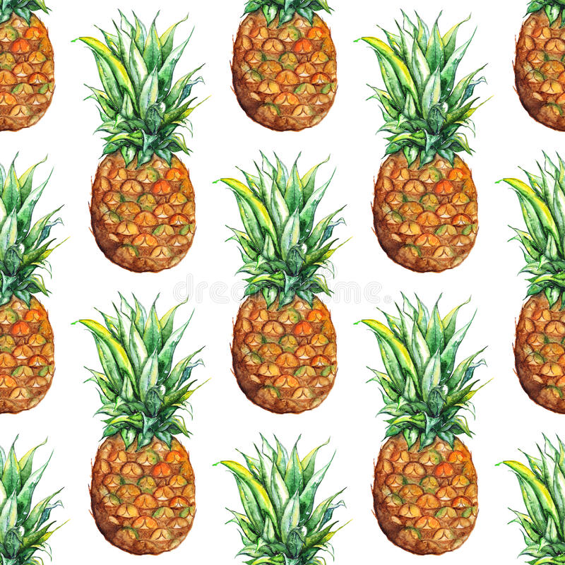 Watercolor pineapple exotic tropical fruit seamless pattern texture background.  vector illustration